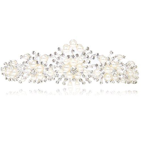 Krone Diademe Stirnband Tiara mit Perlen für Hochzeit Party Prom (Kronen Und Diademe)