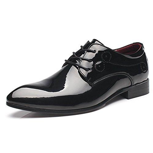 HYLM Scarpe a punta, scarpe casual per gli uomini, scarpe in pelle verniciata stilista britannica, scarpe da sposa Black