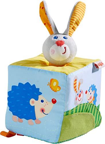 HABA 304240 - Spielwürfel Kleine Freunde, Stoffspielzeug ab 6 Monaten, mit Hasenfigur zum Herausziehen, fördert die Feinmotorik von Babys