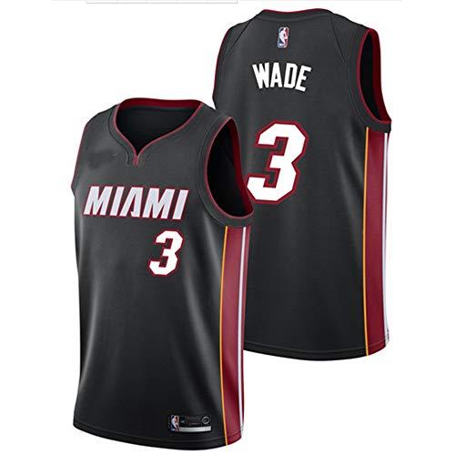 Unbekannt LT Sports Dwyane Wade,#3, Miami Heat Herren-Basketballtrikot atmungsaktiv schnell trocknende Weste Jersey Sommer Trikots Klassische Farbe Black-M Dwyane Wade Jersey