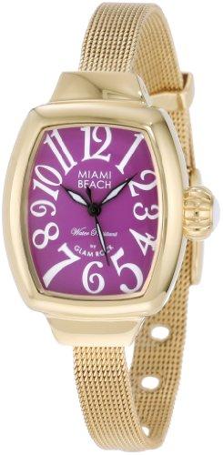 Glam Rock Women's Miami Beach Art Deco Gold Plated Bracelet Steel Case Quartz Purple Dial Watch MBD27072