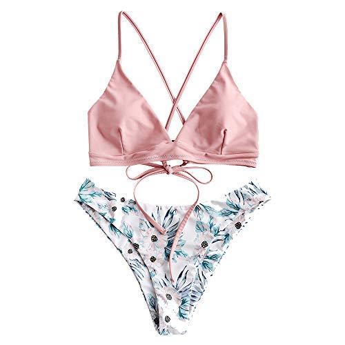 ZAFUL Damen Floral Criss Kreuz Gepolstert Bikini Set Badeanzug Rosa M -