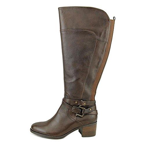 Marc Fisher Kacee Wide Calf Rund Leder Mode-Knie hoch Stiefel Dark Brown