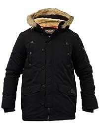 Boys Jacket Kids Parka Coat Brave Soul Padded Sherpa Hooded Fur Lined Winter New