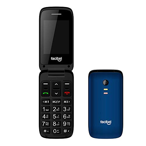 Facitel FS23 - Telefonos moviles Libres de facil Uso con Tapa, Compatible con audifonos,Amplificador de Sonido, Boton SOS(Azul)