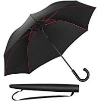 Newdora Umbrella Stick Umbrella Automatic Open Manual Close Windproof Extra Strong Golf Umbrella Ideal for 1-3 People During Storm (Black/Red)