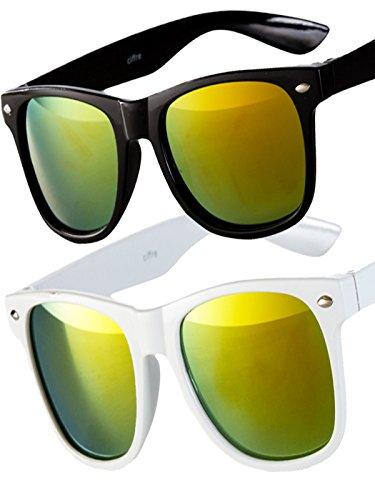 2 er Set EL-Sunprotect® Sonnenbrille Nerdbrille Brille Nerd Feuer Verspiegelt schwarz + weiß