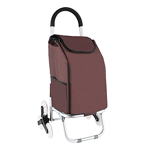 Cabaf Chariot Dolly, Escalier d'escalade roulant Courses Pliable panier 6 Roues , brown