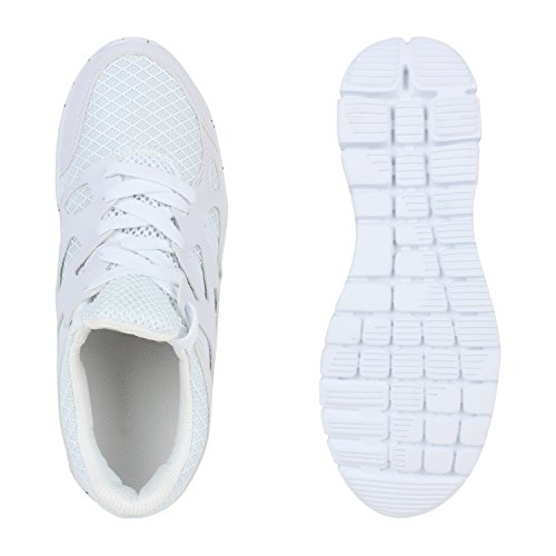 Flache Damen Laufschuhe Profilsohle Sportschuhe Weiß
