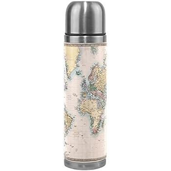 Alaza Weltkarte Wasser Flasche Edelstahl, doppelwandige Vakuum Isoliert Thermoskanne echtem Leder verpackt 17Oz