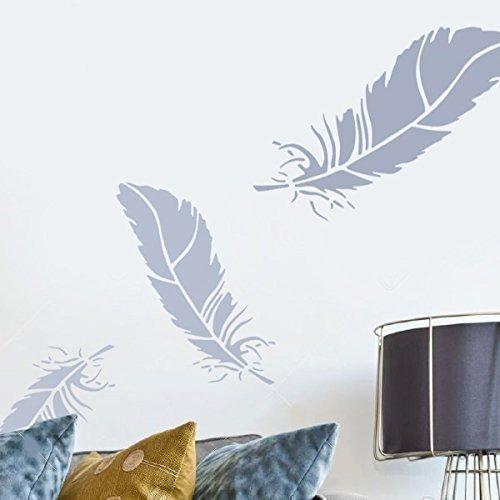 """Ideal Stencils Pochoir en forme de plume pour décoration murale et loisirs créatifs Tailles diverses, XS/18cm/7"""""""