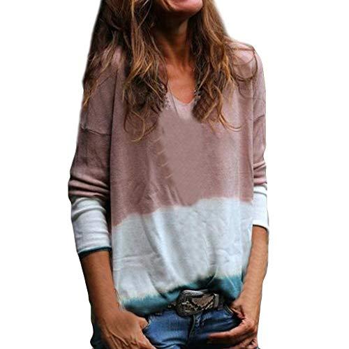 OIKAY Bluse Damen Casual Tunika Tops V-Ausschnitt T-Shirt Frauen V-Ausschnitt Baumwolle Langarm Mode Tank Tie Dyeing Bloues T-Shirt Lauren Cord Jeans