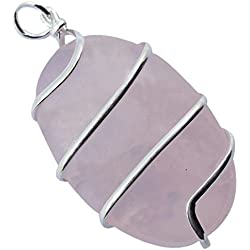 Rose Quartz Wire Wrapped Oval Crystal Pendant Healing Gemstone For Unisex