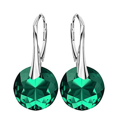 *Beforya Paris* NEUHEIT - Sunset - Tolle Exklusive Ohrringe - 18 Farben Varianten !! - Silber 925 Schön Damen Ohrringe mit Kristallen von Swarovski Elements - Wunderbare Ohrringe (Emerald)
