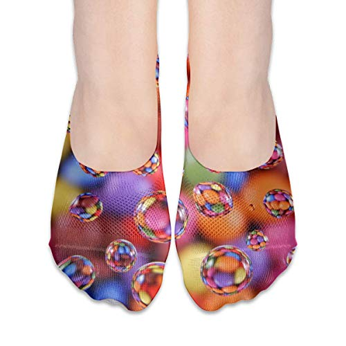 Eybfrre No Show Socks Colorful Bubble Print Low Cut Liner Socks Invisible Athletic Liners For Women