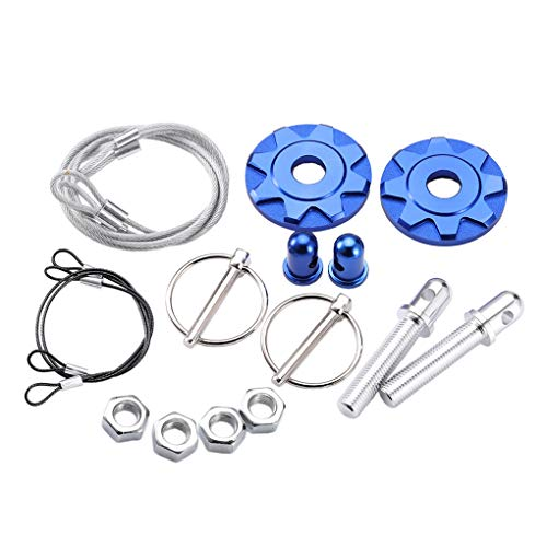 Petite Motorhaube (Aiming Universal-Blau Racing Motorhauben-Aluminium-Legierung Lock-Kit Motorhaube Latch Halter Set Autozubehör)