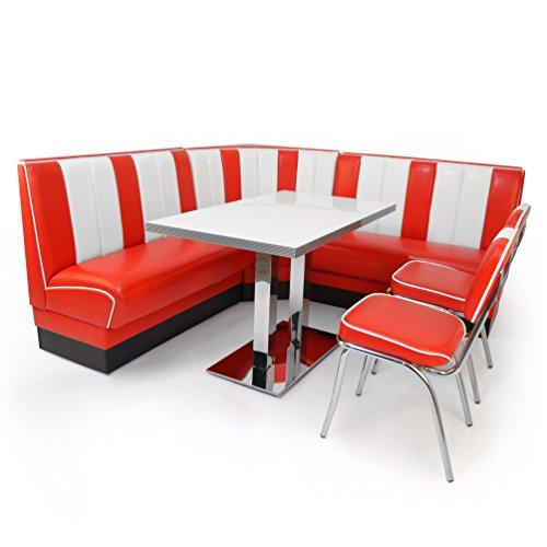 American Diner Set XXL: 2x Dinerbank 120cm + Eckbank + Diner Tisch + 2x Retro Stuhl