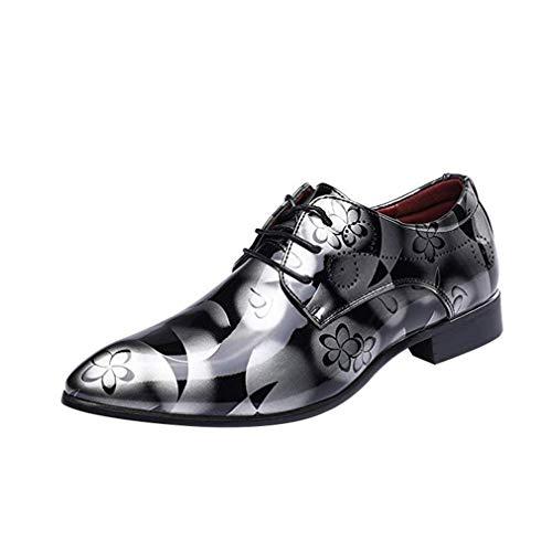 Herren Business Leder Schuhe Derby Schnürhalbschuhe Mod Blumenmuster Flache Schuhe Hochzeit Smoking Arbeitsschuhe, Eu Größe 38-48