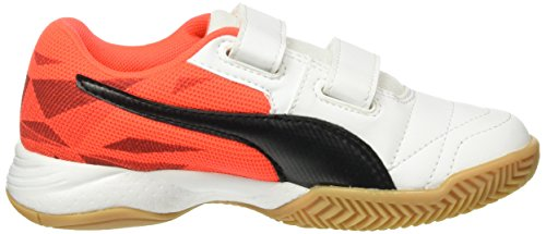 Puma Unisex-Kinder Veloz Indoor Iii V Jr Hallenschuhe Weiß (White-Black-Red blast 02)