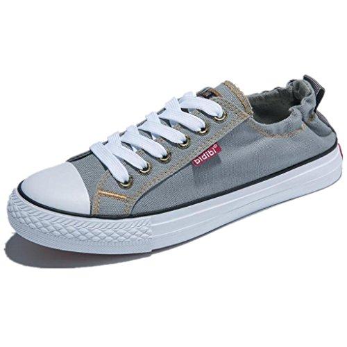 SHFANG Dame Shoes Flat Bottom Canvas Schuhe Freizeit Bequeme Bewegung Students Ferse Enge Vier Farben Grey
