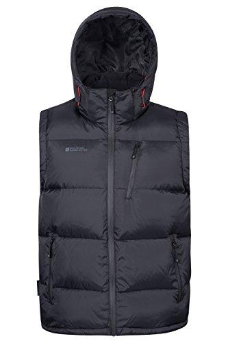 Mountain Warehouse Frost Extreme Herren Daunenweste,wasserdichte,Gefütterte, Warme Herrenweste, Ideal für Winter Schwarz Medium Winter Weste