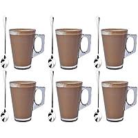 Set de 6 vasos de café de vidrio de 240 ml con 6 cucharas ...