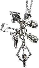 Los Muertos Vivientes Charms Necklace - Zombie colgante con ballesta, binoculares, Hacha, pistola y Rick Grimes Sheriff Hat