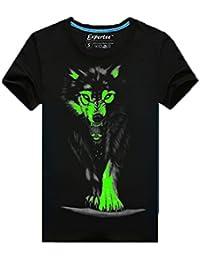 Dayiss@ Herren Jungen Schüler 3D Wolf Muster Leuchtstoff Tshirt leuchtet in der Dunkelheit