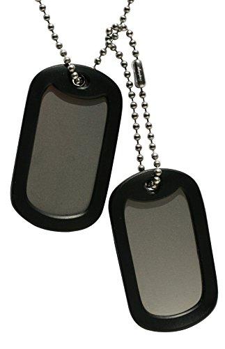 Chapa Militar: Juego de 2 chapas blancas tipo militar.