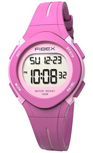 Fibex Dual Time Reloj de Pulsera Digital para niños, Resistente al Agua, 10 ATM, Alarma Diaria, Fecha...