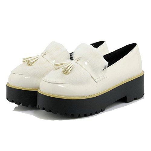 AllhqFashion Damen Weiches Material Rund Zehe Mittler Absatz Rein Pumps Schuhe Weiß