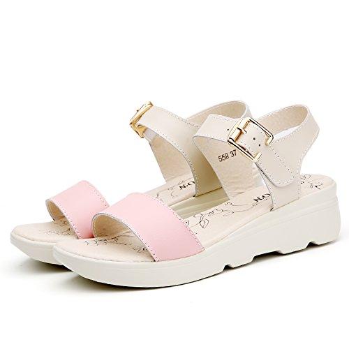 Estate moda donna sandali comodi tacchi alti,36 nero Pink