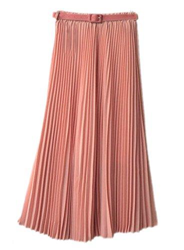 Honeystore Damen's Korean Chiffon Boho Plissee Retro Midi Rock-elastischen Bund Tanz-Kleid Faltenrock Rosa One Size (Frauen Bane Kostüm)