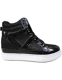 fashionfolie - Baskets compensées Montante Talon de 6cm Chaussures Femme  Fille Lacet K-68 Noir be9903f5f2a2