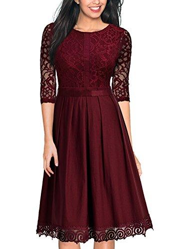 Miusol Damen Abendkleid Elegant Cocktailkleid Vintag 3/4 Arm mit Spitzen Knielang Party Kleid Weinrot Gr.S