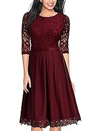 Miusol Damen Abendkleid Elegant Cocktailkleid Vintag 3/4 Arm mit Spitzen Knielang Party Kleid Dunkelblau Gr.S-XXL