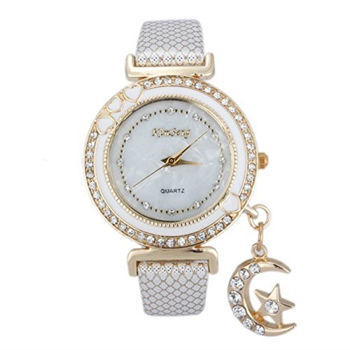 Habors White Rhinestone Studded Moon and Star Pendant Watch Bracelet for Women (JFBD358WH) (Valentine Gift)
