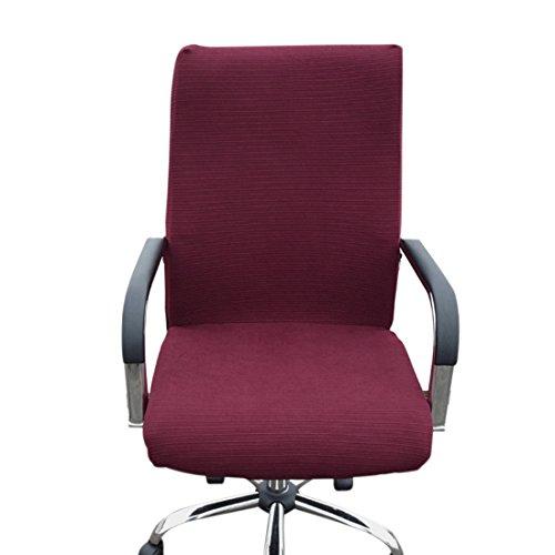 Zhuomei Bürostuhl Bezug Abnehmbar Computer Schreibtisch Stuhlsitze Bettüberwurf Displayschutzfolie, Spandex, Weinrot, S
