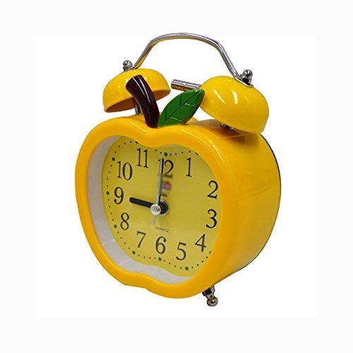 Mega Kinder Lovely Elektronischer Wecker Apple Shaped Twin Bell Alarm Clock Student Nachttisch Lautlos-Wecker mit Nachtlicht und Laut Alarm, Plastik, Gelb, Einheitsgröße