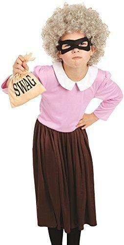 GEZOGEN alt Oma mit Perücke Schule Buch Tag Woche Verkleidung Kleid Kostüm Outfit 6-12 Jahre - 6-8 years (Oma-outfit)