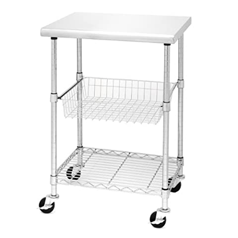 Seville Classics Professional Chef's Metal Chrome Plated Table with Stainless Steel Top, 61 x 51 x 91 cm, Silver