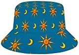 Photo de ocaohuahuaba Sun Hat for Men/Women,Outdoor Packable Travel Bucket Cap Hats for Safari Fishing Hiking Beach Golf-Sun and Moon Pattern par ocaohuahuaba
