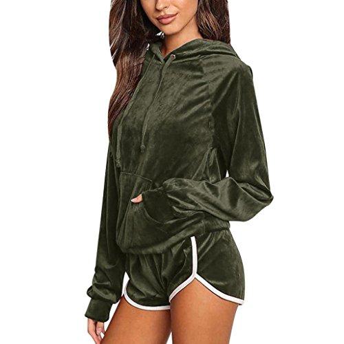 Bekleidung Damen 2pcs Bekleidungssets, ZIYOU Frauen Sport Hoodies Sweatshirt Lange Ärmel + Shorts Hosen Sets Anzug Velvet (Grün, M)
