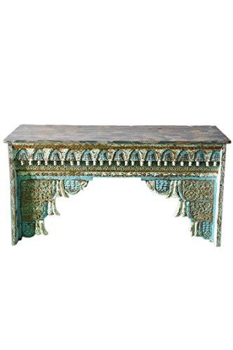 Orientalische Konsole Sideboard schmal Inana 150cm Grau Blau | Orient Vintage Konsolentisch orientalisch handgeschnitzt | Landhaus Anrichte aus Holz massiv | Asiatische Deko Möbel aus Indien