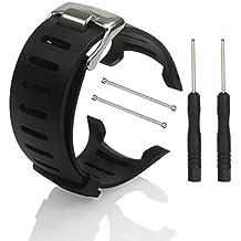 Reloj banda correa–phifo suave negro de goma de repuesto reloj banda correa con herramienta gratuita para Suunto T1T1C T3T3C T3D t4C t4d ss012801000ss012804000, Black with Screws