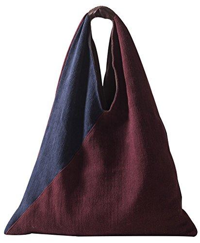 Vogstyle Damen Lässige große Kapazitäts Handgemachte Sling Bag Hobo Rote/Blau Rote/Blau