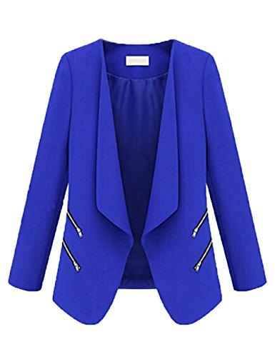LRUD Frauen Vorne öffnen Drapiert Zugeschnitten Arbeit Büro Dame Blazer Klubjacke Seite Reißverschluss Jacke Anzug Strickjacke Revers Mantel (Royal Blauer Blazer)