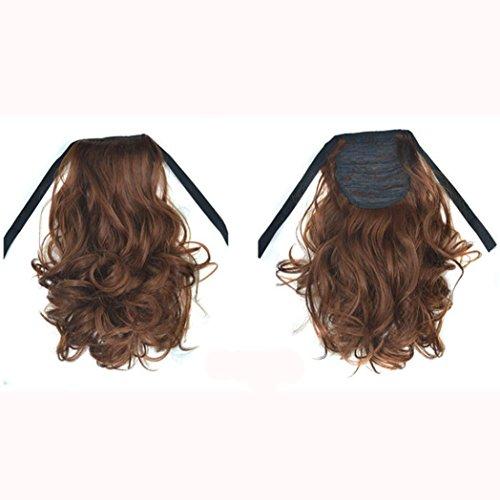 OHQ Petite Perruque De Queue Cheval Cheveux BoucléS Womens Ruban Ondulé Courte Bresilienne Blonde Afro BréSilien Extensions Femme Naturelle Vrai Naturel (C)