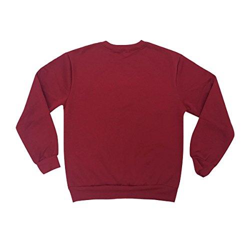 Q.KIM Unisex Donna Uomo Felpa Manica lunga Camicetta Lettera Pullover con stampa Sweatshirt Moda Tops S-3XL I am freaking cold,Vino rosso