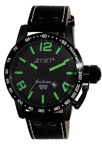 Jet Set–j8458b-437–San Remo–Men's Watch–Analogue Quartz–Black Dial–Black Leather Strap